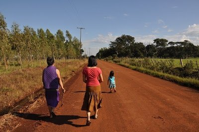 walking down dirt road in paraguay