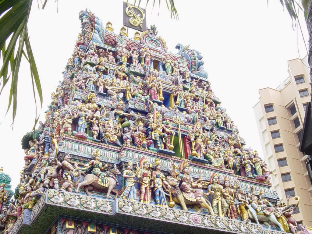 The exterior of Hindu temples in Singapore