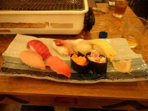 A plate of sushi at a restaurant in Tokyo on an overseas family trip