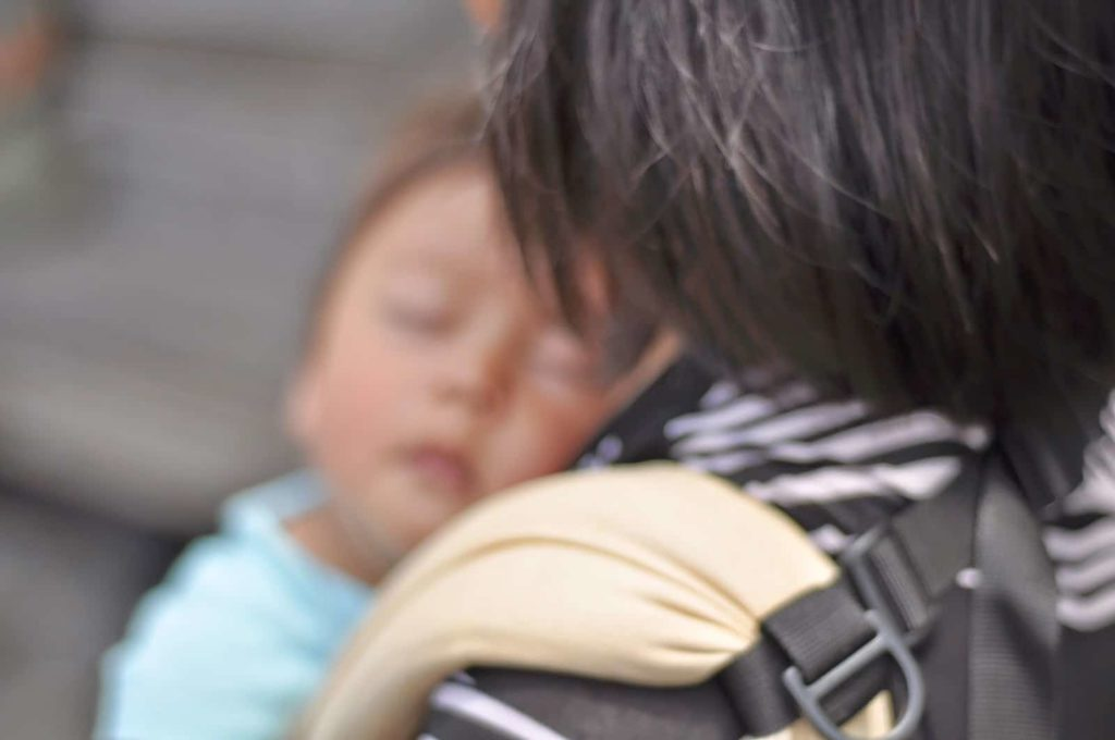 Baby carriers are a great vacation packing list item for family travel