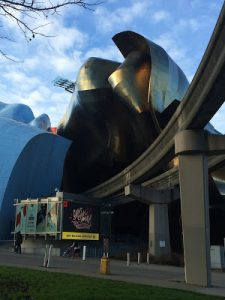 The exterior of MoPop, one of the many Seattle museums for kids.