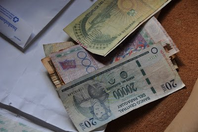 Paraguayan paper bills, used while traveling with kids in Paraguay