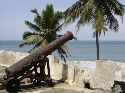 An old cannon at Elmina Castle in Ghana, a good alternative to a European vacation