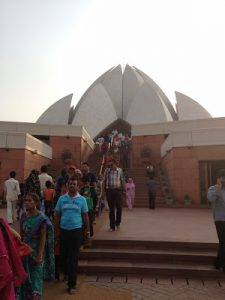 Baha'i worshippers at the Lotus Temple Delhi in India