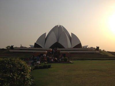 The Lotus Temple Delhi at sunset