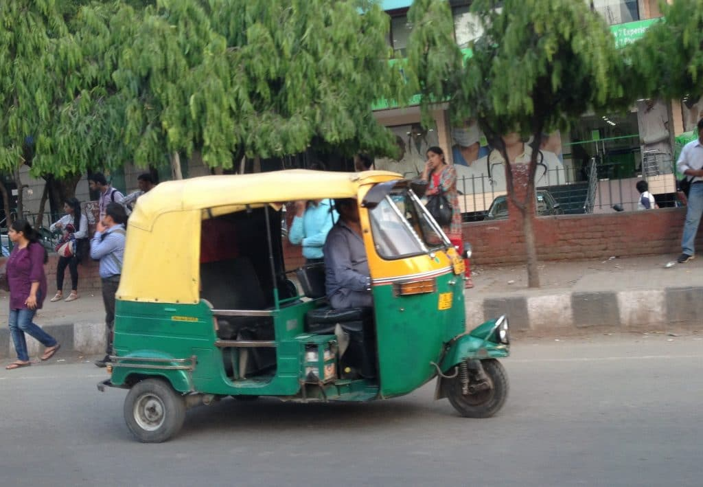An auto rickshaw, to help families get around Delhi with kids