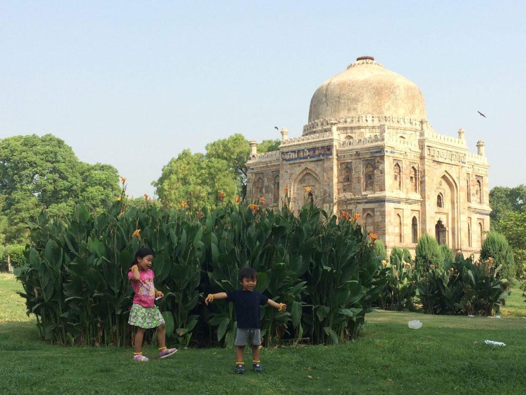 Kids at Lodi Garden in Delhi, India, traveling internationally with kids