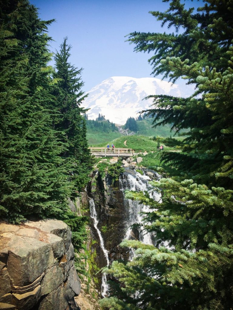 A view of Mount Rainier summit from Myrtle Falls, one of the easy Mount Rainier hikes