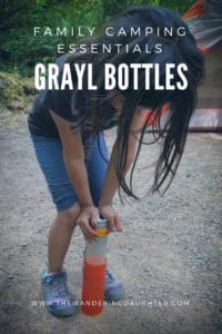 Family camping essentials, GRAYL water bottles