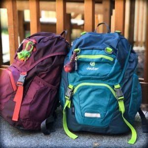 Two small kids backpacks for traveling in minimalism