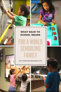What back to school means for a world schooling family