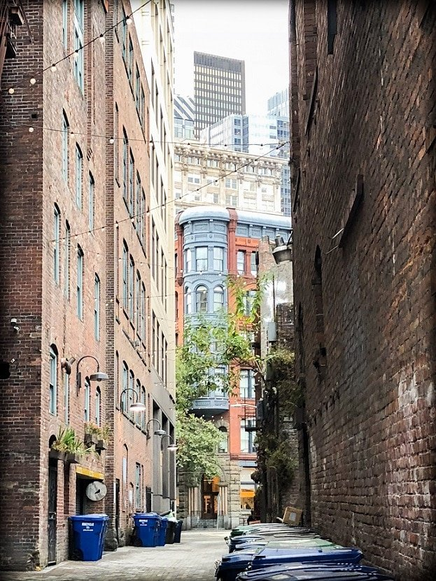 An alley in Seattle's Pioneer Square neighborhood, where visitors can take a walking tour of Seattle