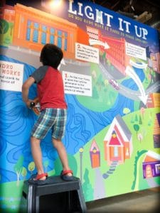 A child playing with an electricity exhibit at a science center, an example of family friendly Spokane activities