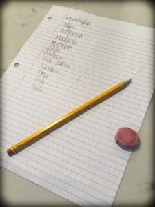 President names spelling practice for DC world schooling activities