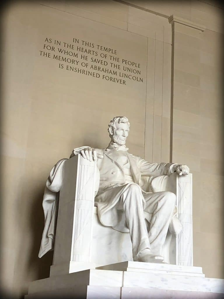 Statue of Abraham Lincoln at Lincoln Memorial in Washington, DC, where families can do DC world schooling activities together