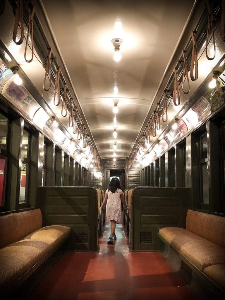 Subway car in one of the non touristy things to do in NYC, the New York Transit Museum