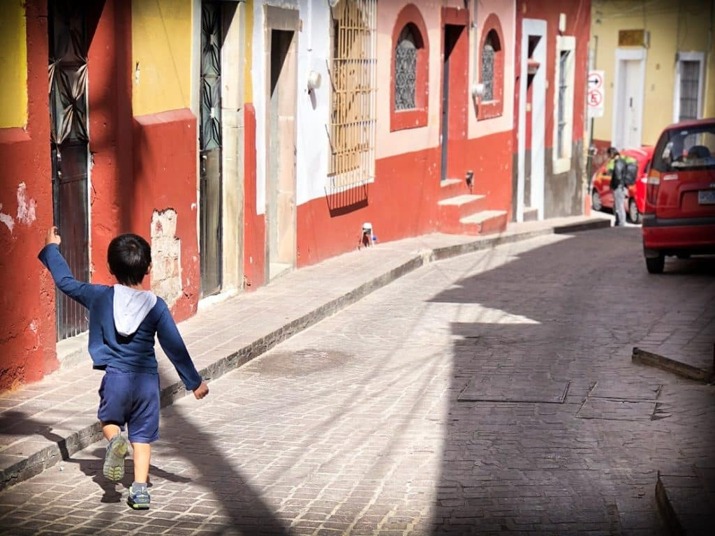 A child enjoying slow traveling in Mexico