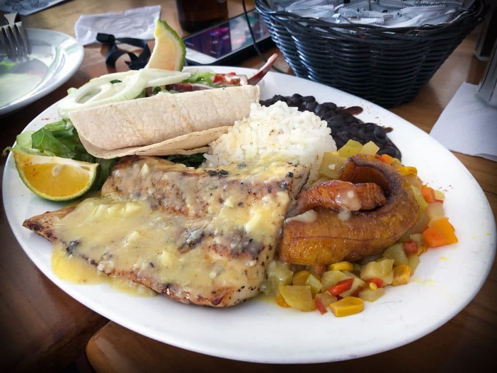 A typical meal in Costa Rica as part of affordable world travel. Grilled fish with sauce, and plaintains and vegetables, along with rice, black beans, tortilla, and salad.