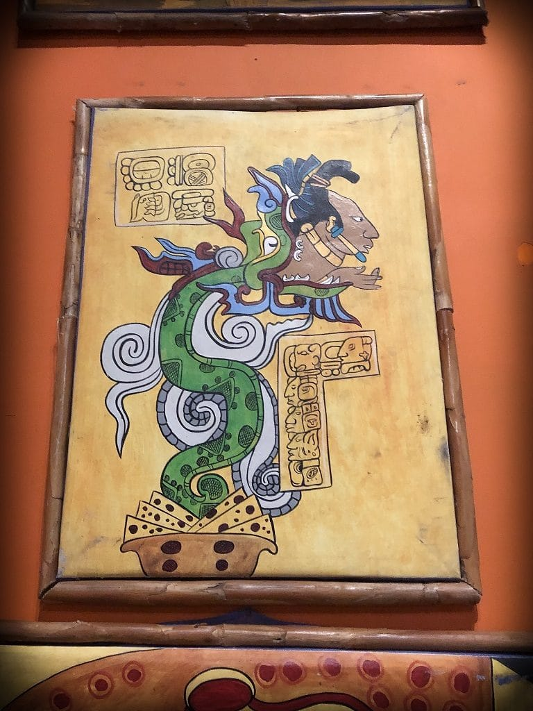 Central American artwork at ChocoMuseo in La Fortuna, Costa Rica, where you can take a chocolate workshop