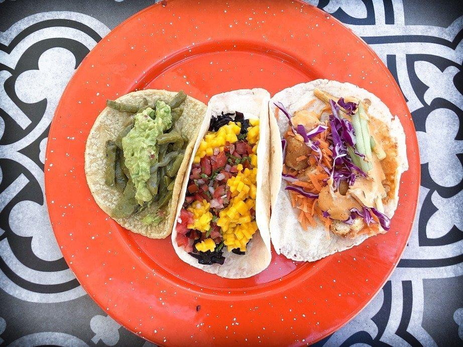 Vegetarian tacos at one of the San Miguel de Allende restaurants, Sabroso Taqueria.