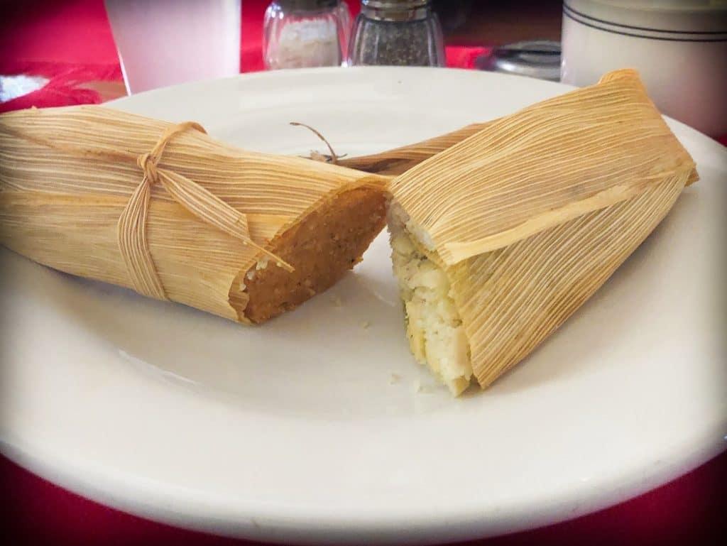 Tamales at one of the San Miguel de Allende restaurants, Cafe De La Parroquia
