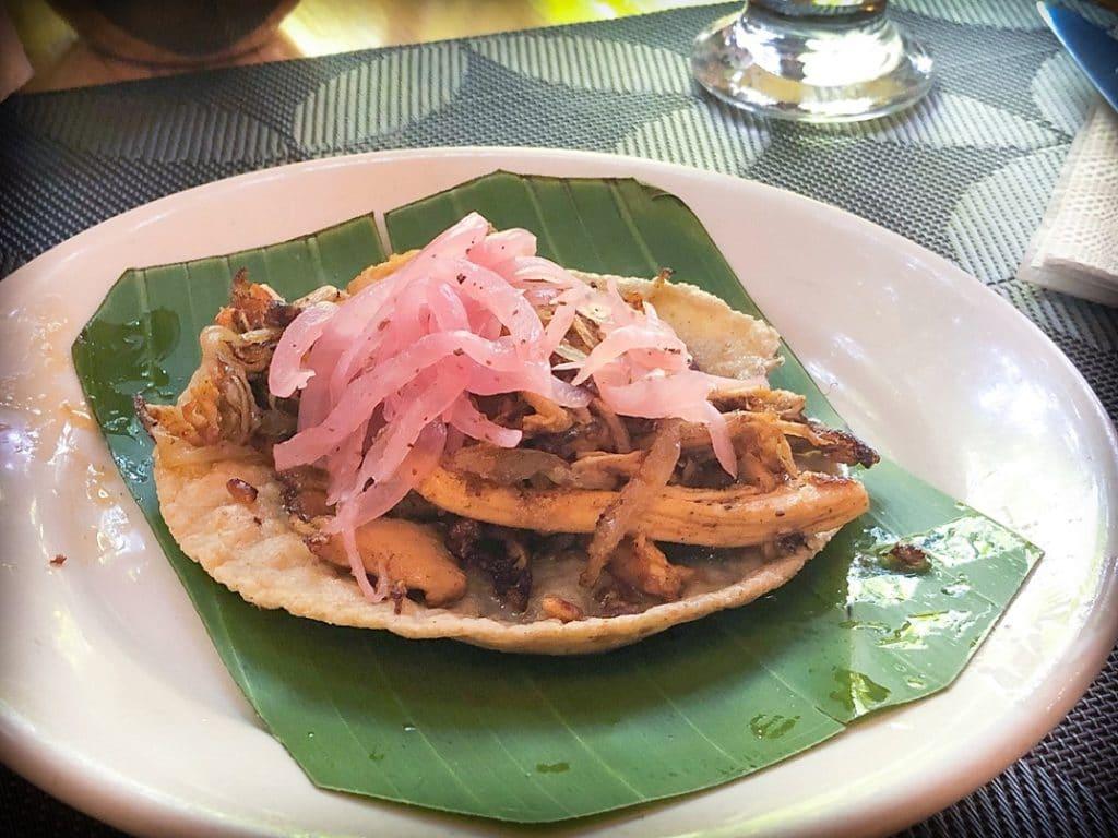 Chicken tacos at one of the San Miguel de Allende restaurants, La Casa Del Diezmo