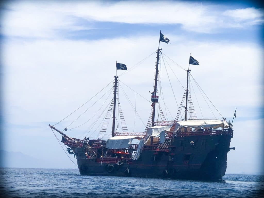 The Marigalante pirate ship, hosting a Puerto Vallarta pirate ship cruise