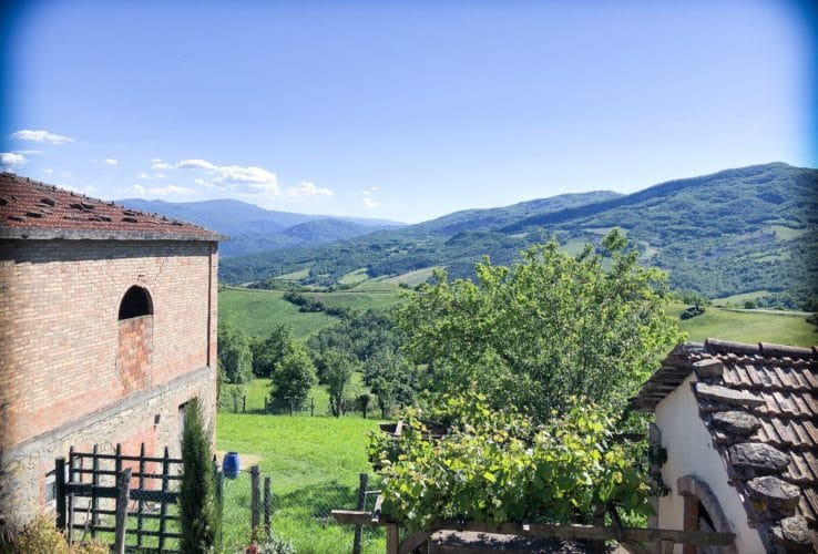 A view of the Italian countryside from a farm house during family holidays overseas