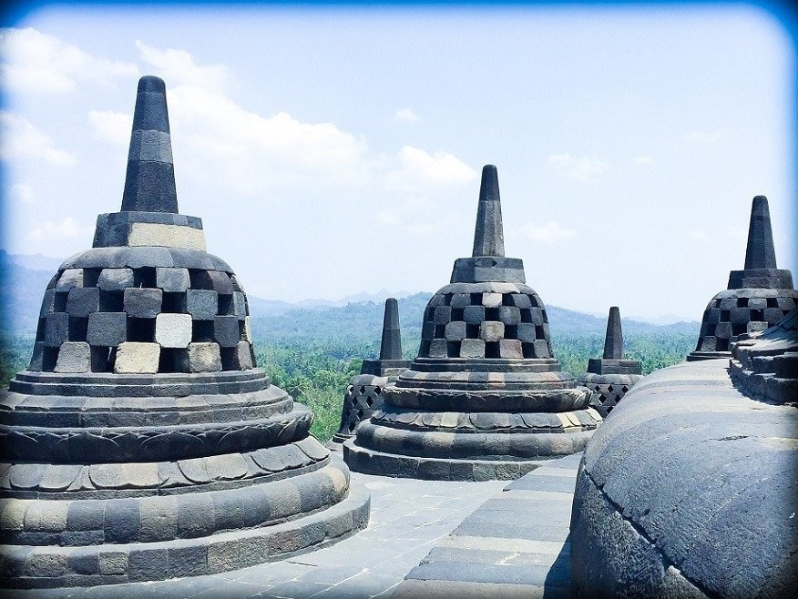 Stuppas from Borobudur Temple, an important part of Indonesian culture.