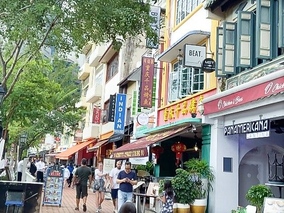 Restaurants and colonial architecture along Boat Quay, one of the things to do in Singapore on a budget