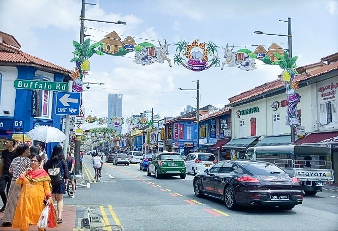 The streets of Little India, where travelers can visit Hindu temples in Singapore