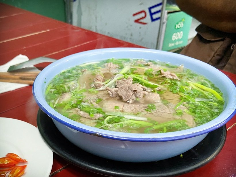 A bowl of beef pho, a popular food in Hanoi