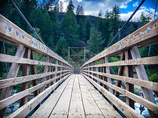 Swinging bridge for hiking in Spokane at Bowl and Pitcher, Riverside State Park in Washington