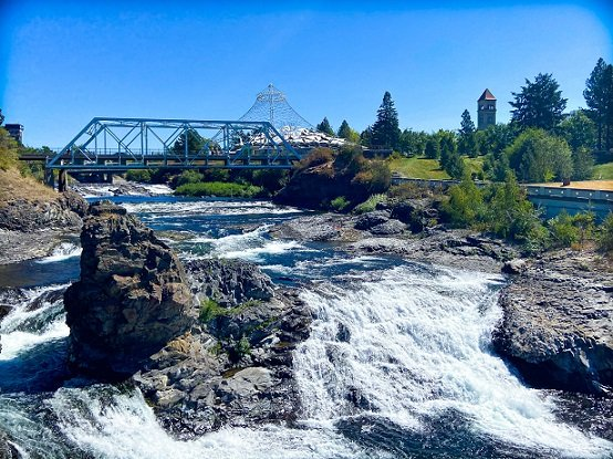 Spokane Falls at Riverfront Park, where visitors can enjoy urban hiking in Spokane, WA